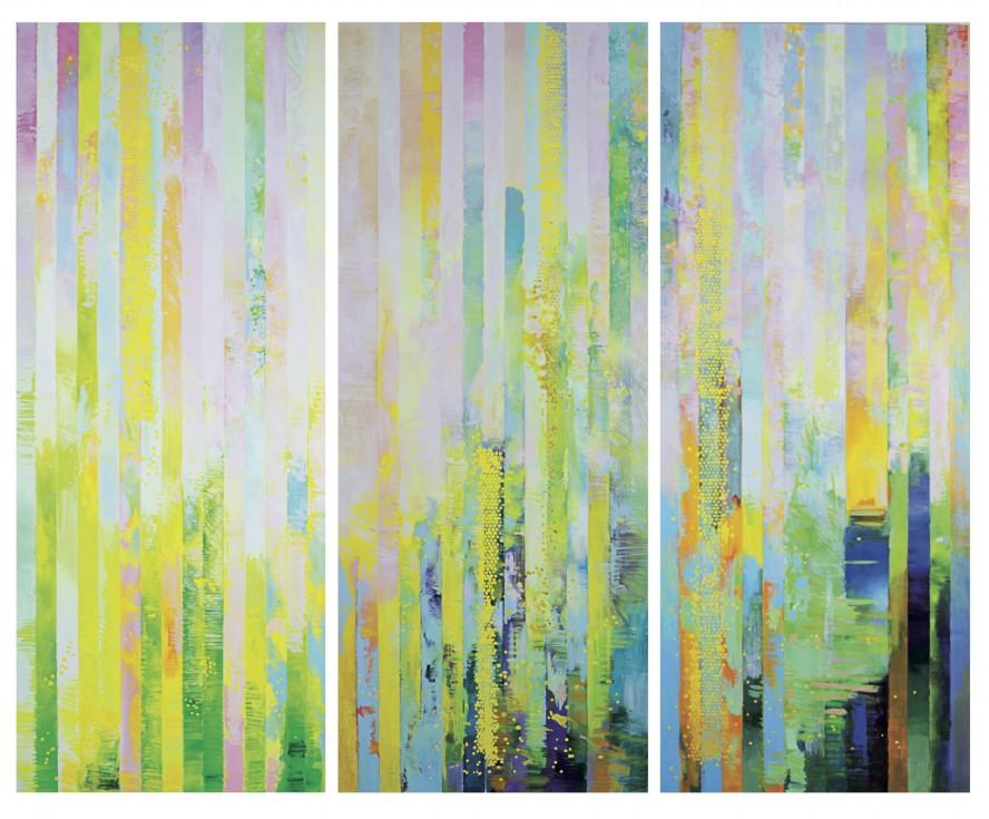 Huang Yang, tecnica mista su tela, 9 pezzi, cm 20x20