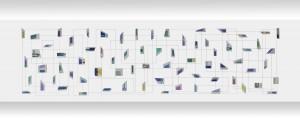 Iler Melioli, Connection (ritagli di un pensiero vivo), installazione alluminio policromo e filo di cotone, cm 900x240, 2015